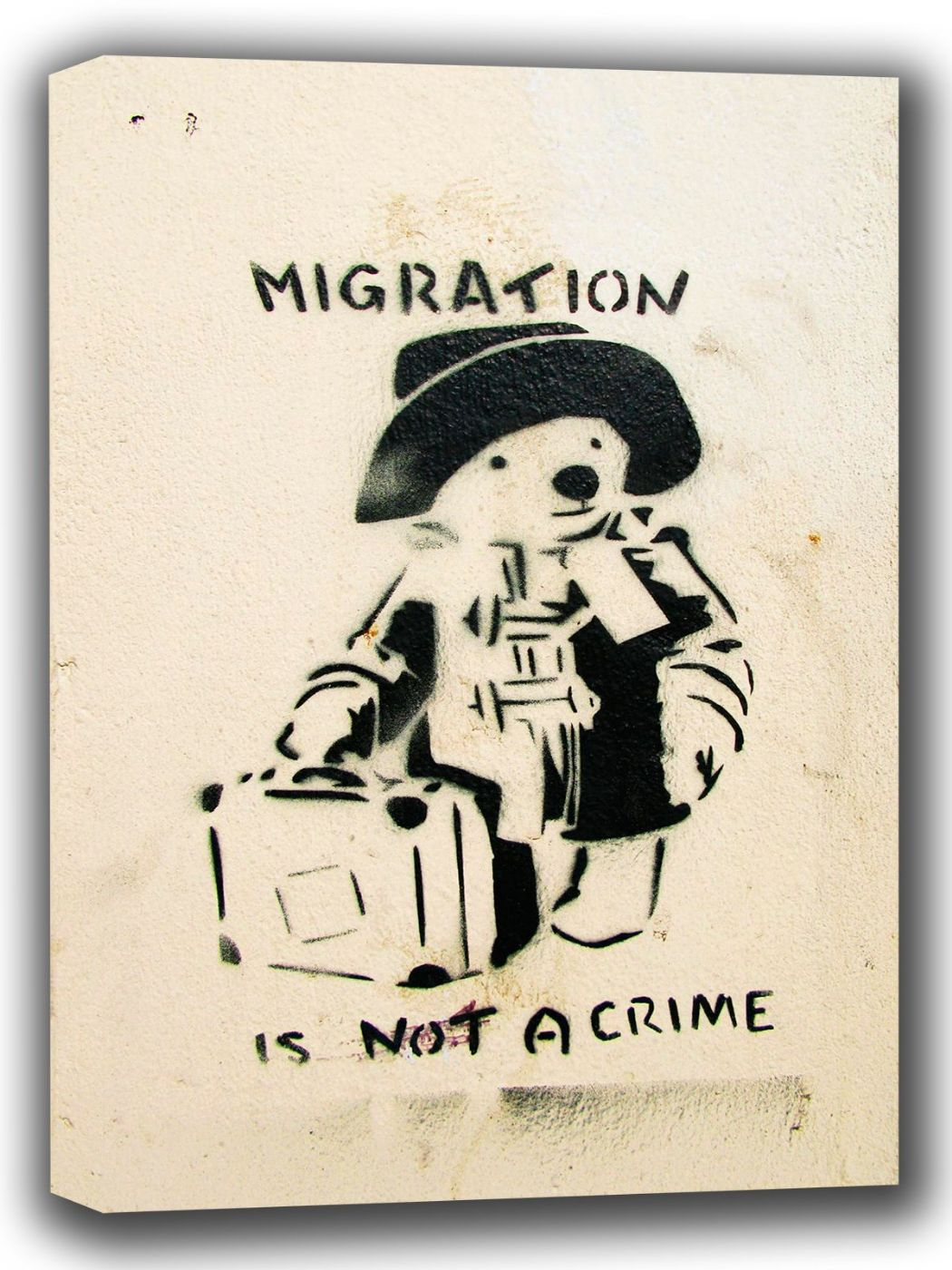 Banksy: Paddington Bear - Migration is not a Crime. Art Canvas. Sizes: A4/A3/A2/A1 (002294)